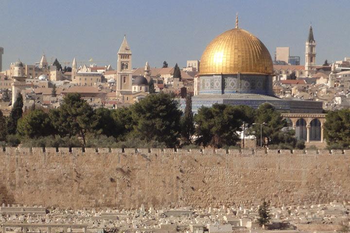 Veranstaltung: Von Jerusalem nach Bethlehem, Ein christlich-jüdisches Gespräch zur Kultur- und Religionsgeschichte zweier heiliger Orte, Foto: Ansicht Jerusalem mit dem Felsendom